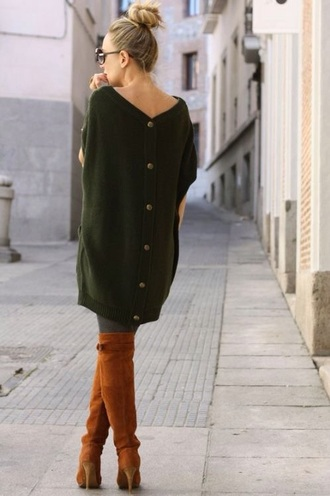 sweater forest green oversized sweater