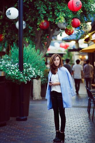 tsangtastic blogger jeans jewels baby blue coat shirt shoes
