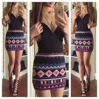 shirt tribal skirt short skirt