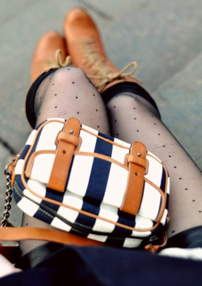 blue and white striped cute bag boots brown leather boots girly tumblr outfit tumblr purse underwear