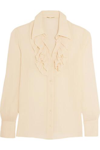 shirt silk cream top