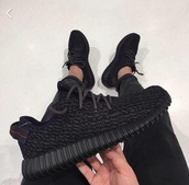 shoes,yeezy boosts 350,black,black shoes,adidas,yeezy,pretty,fashion,black yeezy,yeezy 350 boost,the originals,low top sneakers,black sneakers
