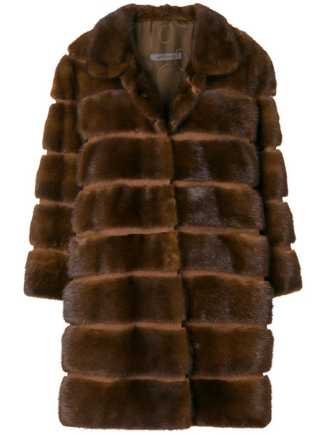 SIMONETTA RAVIZZA coat fur coat fur women silk brown
