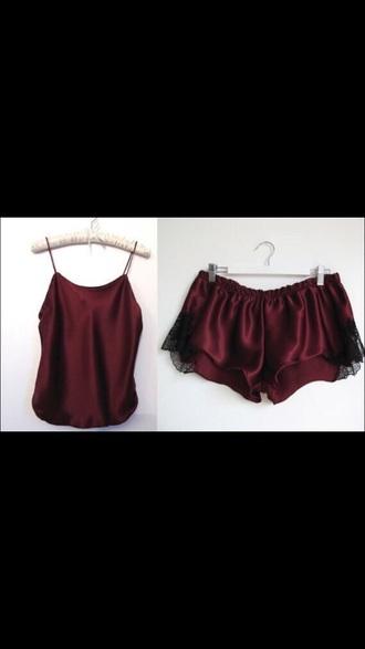 pajamas burgundy silk