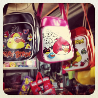 bag angry birds black pink red messenger bag