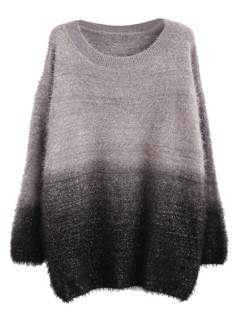 Gray ombre fluffy mohair sweater