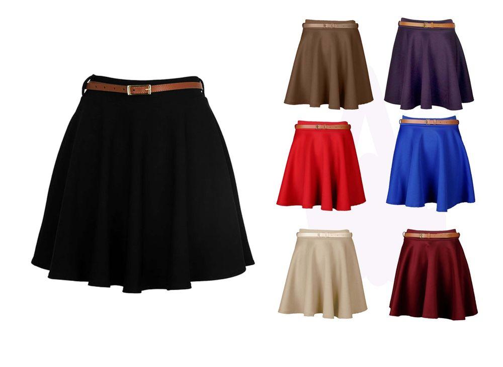 New Ladies Skirts Womens Belted Flared Plain Mini Skater Skirt Sizes UK 8-14.