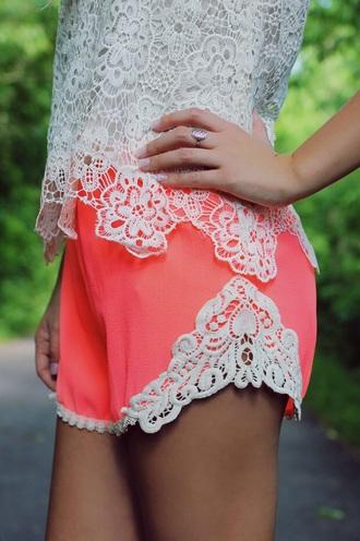 shorts coral lace lace shorts blouse