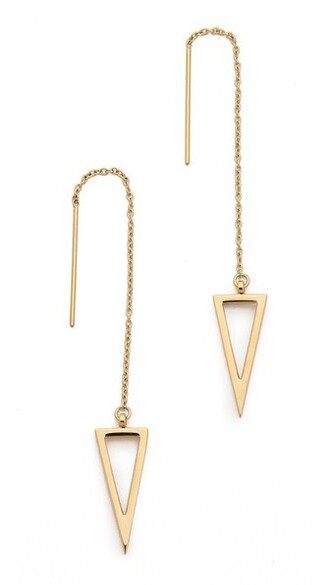 triangle long earrings gold jewels