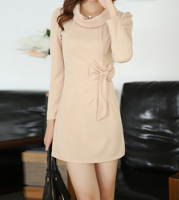 Wholesale Bow Tie Sweet Style Polyester Long Sleeves Cowl Neck Solid Color Dress For Women (APRICOT,L), Long Sleeve Dresses - Rosewholesale.com
