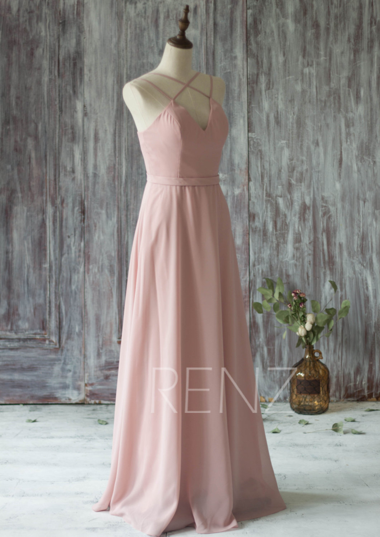 2016 Long Chiffon Bridesmaid Dress Straps, Blush Wedding Dress, V Neck Spaghetti Strap Prom Dress, Evening Gown Floor Length (T159)