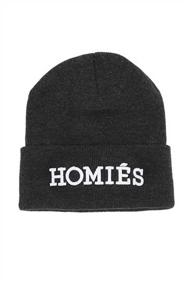 Charcoal homies beanie with white embroidery