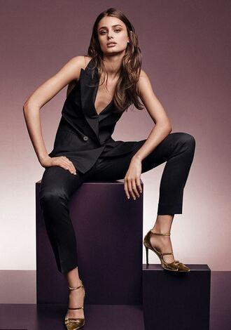 shoes pants vest suit model taylor hill high heel sandals high heels