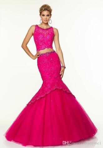 dress 2 piece prom dress mermaid prom dress lace dress fuchsia dress