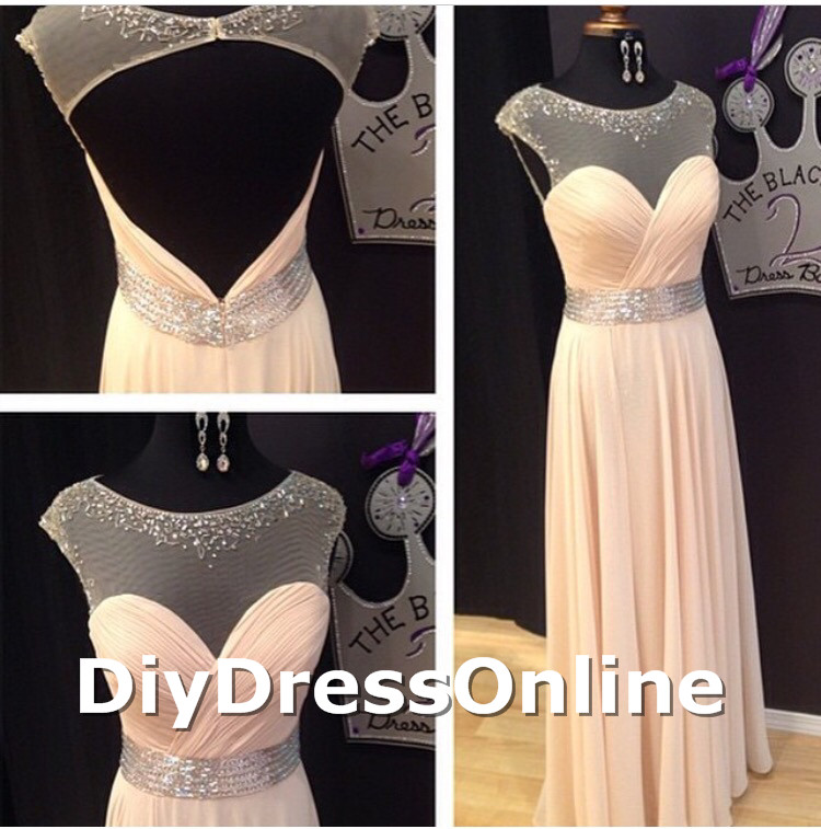 Line cap sleeve peach chiffon prom dresses long graduation gowns for 2015 girls apd1482 · diydressonline · online store powered by storenvy