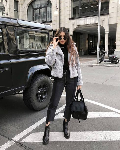 jacket tumblr grey jacket fuzzy jacket denim jeans black jeans cropped jeans boots black boots ankle boots backpack black backpack sunglasses