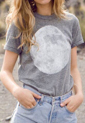 shirt t-shirt moon grey t-shirt hipster