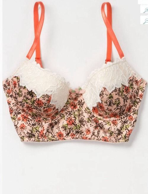 Anthropologie Coral Blooms Bra By Eloise Floral Lace 36 C Urban Outfitters | eBay