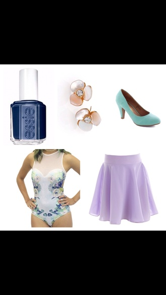 skirt leotard floral navy something navy flower earings teal heels purple skirt round sunglasses nail polish