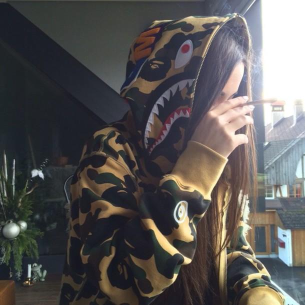 sweater hoodie jumper swag style jacket big sean camouflage zip up full zip bape camouflage