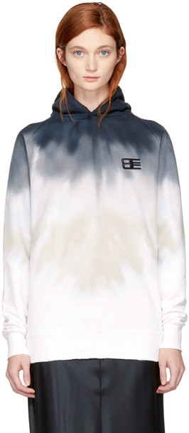 Baja East hoodie long navy white sweater