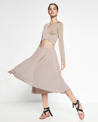 skirt ballerina feminine zara nude dress midi skirt