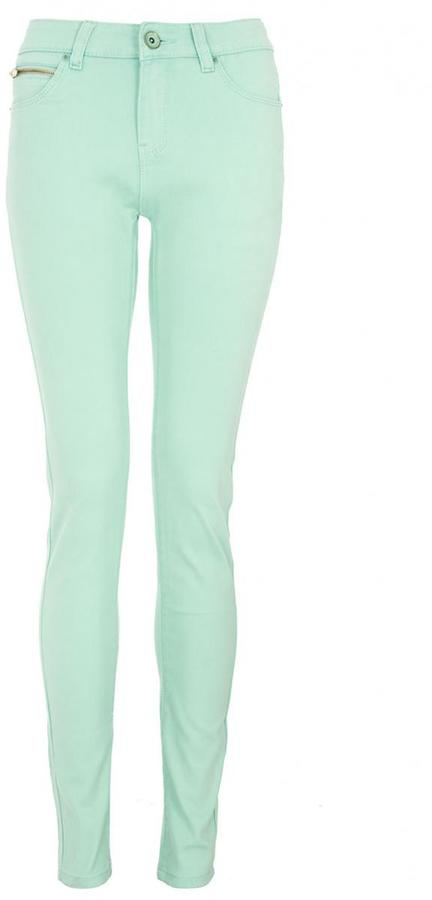 Quiz mint zip detail skinny jeans