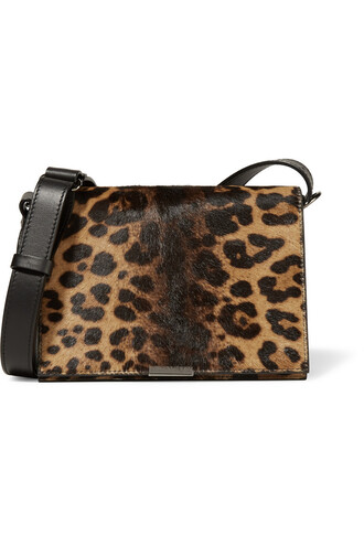 hair bag shoulder bag leather print leopard print