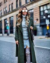 coat,tumblr,green coat,sunglasses,mirrored sunglasses,long coat,top,grey top,turtleneck,skirt,mini skirt,wrap skirt,grey skirt,boots,grey boots,over the knee boots,grey turtleneck top,green long coat