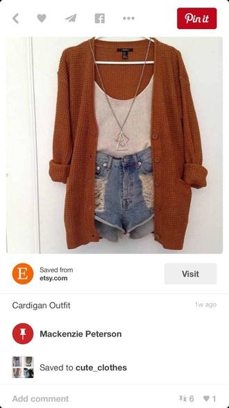 cardigan tan cardigan shorts jewels blouse