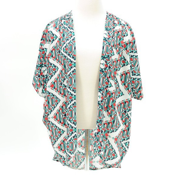 kimono cardigan kimono, cardigan, black and white, boho geometric Cardigan shrug