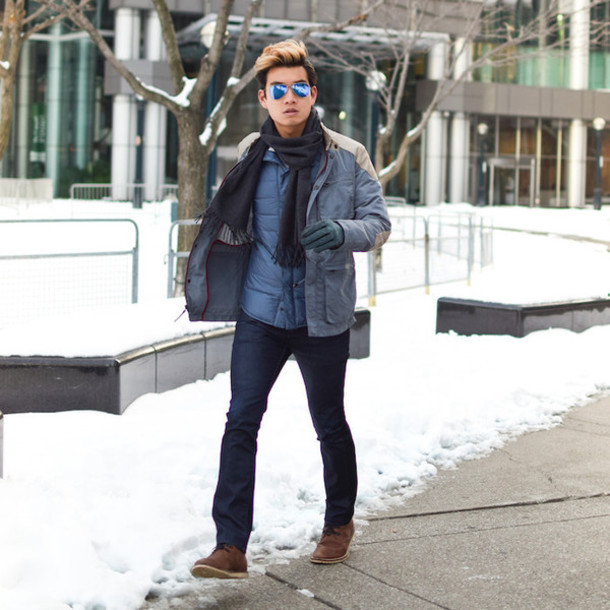 alexander liang blogger gloves menswear winter outfits mens jacket aviator sunglasses lacoste jacket shirt jeans scarf shoes sunglasses mens straight jeans mens knitted scarf