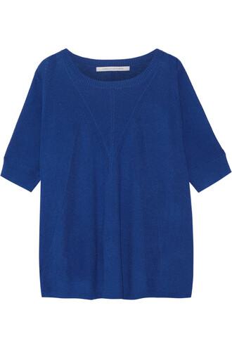 sweater silk wool blue bright