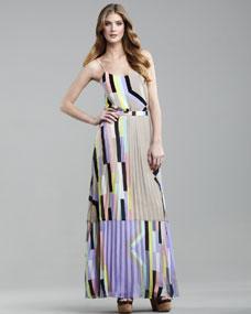 Tibi Arizona-Print Pleated Maxi Skirt