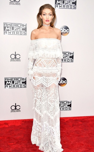 dress off the shoulder white white dress white lace dress white lace gigi hadid american music awards red carpet dress model off-duty choker necklace wedding dress