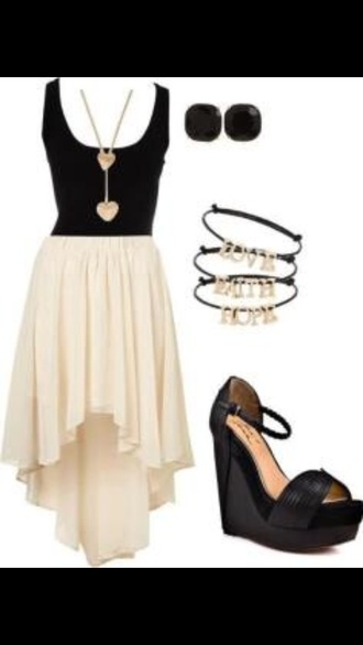 dress high-low dresses light cream color black white skirt
