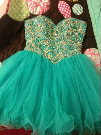 dress turquoise dress with gold
