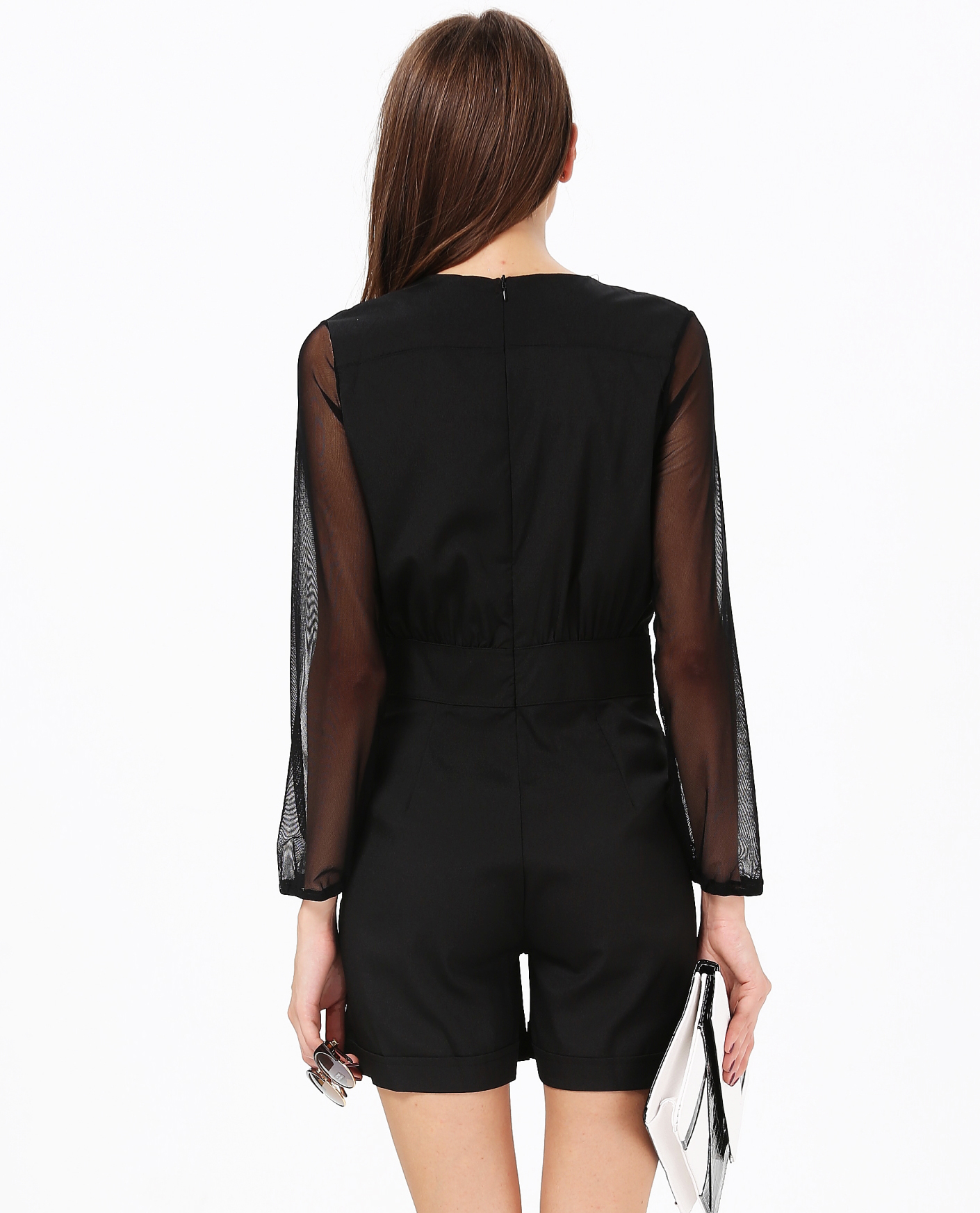 Black Deep V-neck Long Sleeve Playsuit - Sheinside.com
