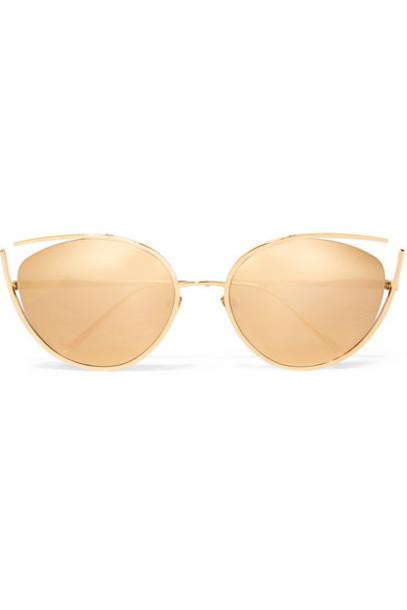 Linda Farrow - Cat-eye Gold-plated Sunglasses
