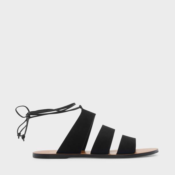 strappy sandals lace black shoes