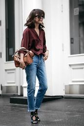 le fashion image,blogger,blouse,bag,jeans,casual friday,button up,burgundy,brown bag,frayed denim,black flats,frayed jeans,loewe bag