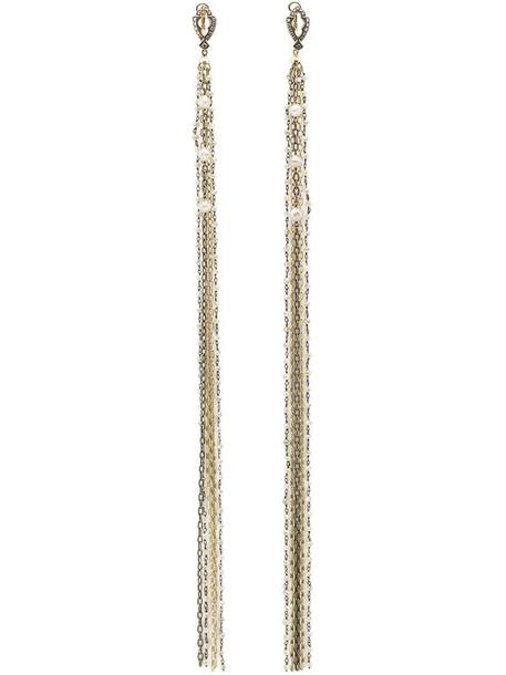 tassel women earrings gold yellow grey metallic jewels