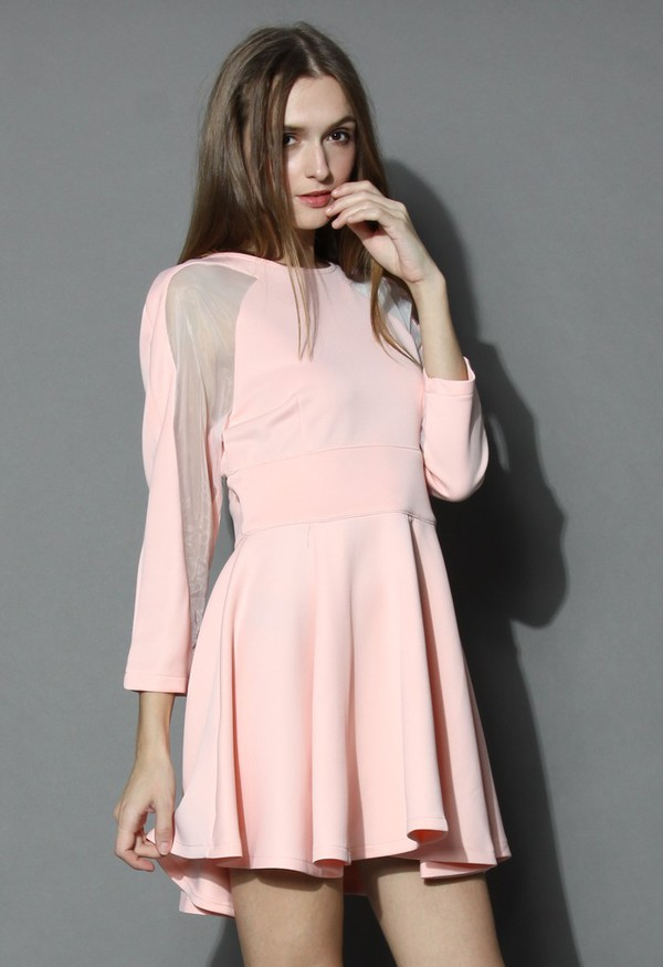 chicwish organza panel dress pink dress