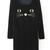 Black Long Sleeve Cat Face Print Velvet Dress - Sheinside.com