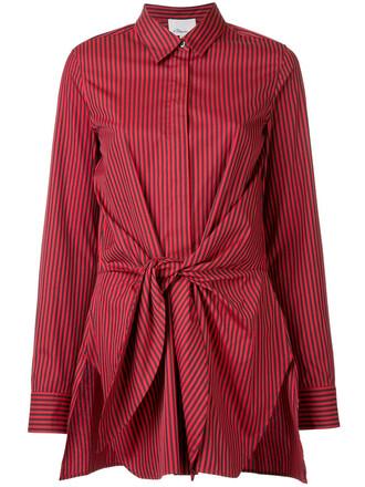 shirt stripe shirt women cotton silk red top
