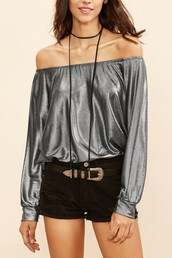 top,silver top,long sleeve top,metallic top,off the shoulder top