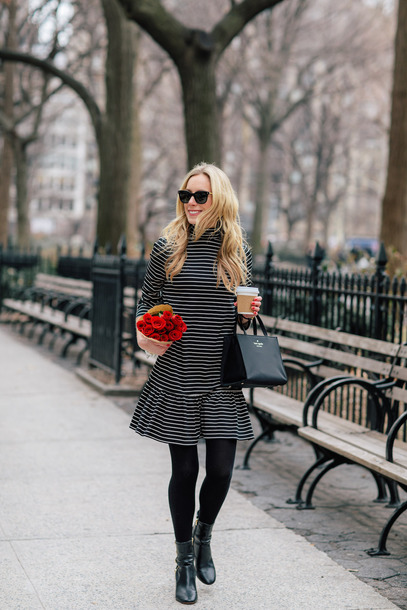 katie's bliss - a personal style blog based in nyc blogger dress bag coat shoes jewels sunglasses striped dress ankle boots handbag