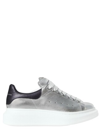 metallic sneakers leather silver navy shoes