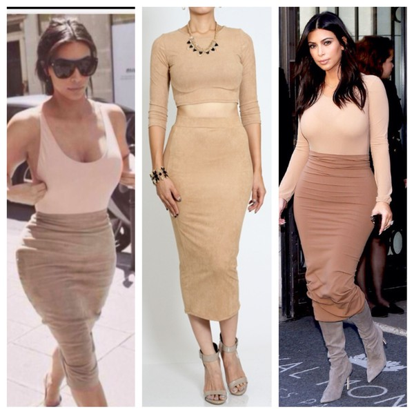 kim kardashian fashion fall outfits crop tops skirt nude top
