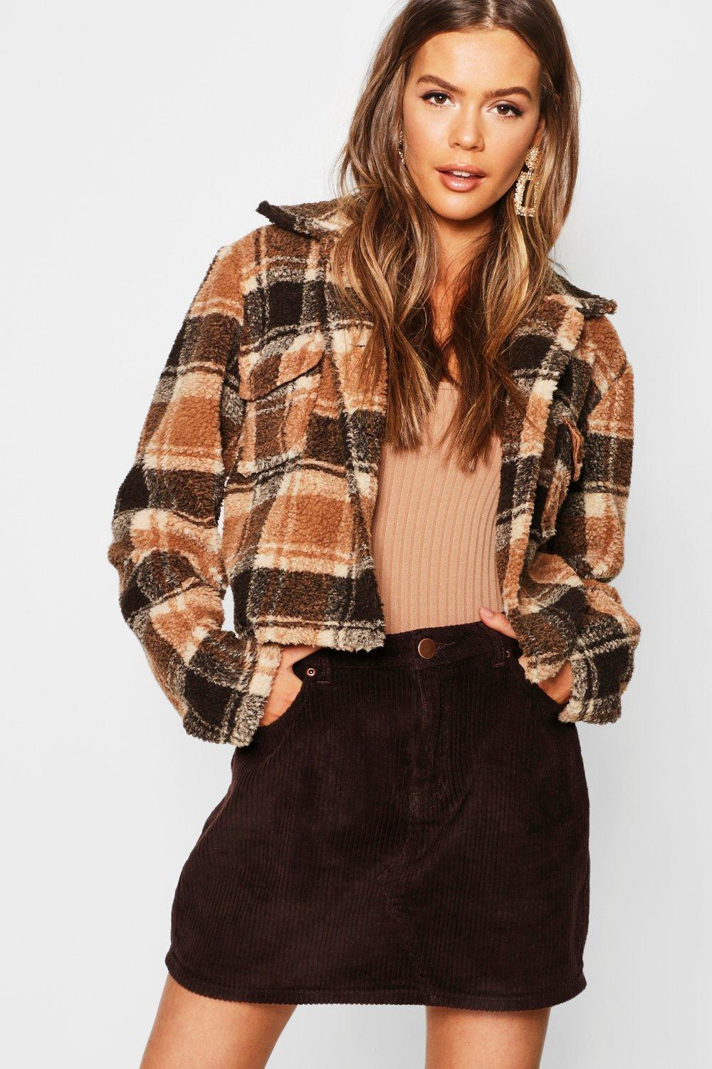 Check Teddy Faux Fur Trucker Jacket | Boohoo